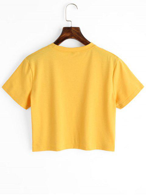 outfits Planet Print Graphic Crop Tee - YELLOW M Mobile