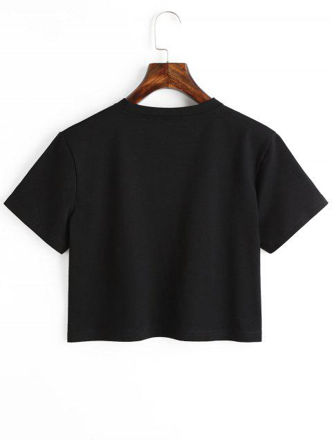 hot Planet Print Graphic Crop Tee - BLACK S Mobile
