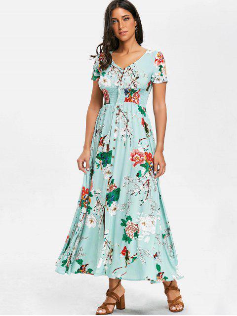 Robe Florale Longue à Col en V en Mousseline - Turquoise S Mobile