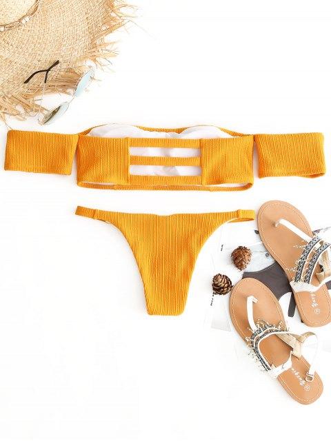 Juego de Bikini acampanado del hombro - Amarillo S Mobile