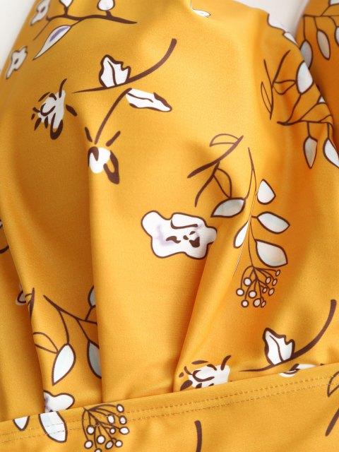 Maillots de Bain Grande Taille Fleuri  avec Longe - Jaune 4XL Mobile