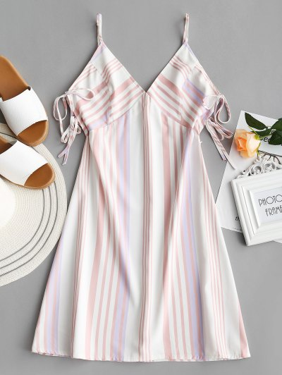 Ties Slip Stripes Mini Dress - Stripe S