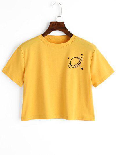 Planet Print Graphic Crop Tee - Yellow M