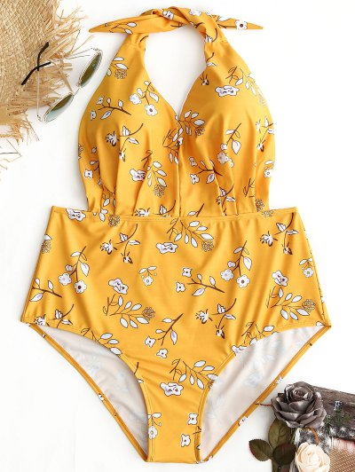Halter Floral Plus Size Swimwear - Yellow Xl