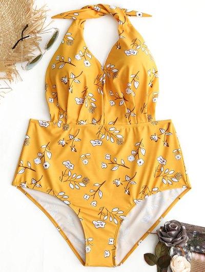 Halter Floral Plus Size Swimwear - Yellow 3xl