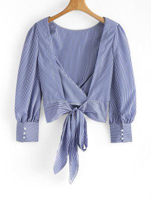 Firstgrabber Tied Bowknot Backless Striped Blouse
