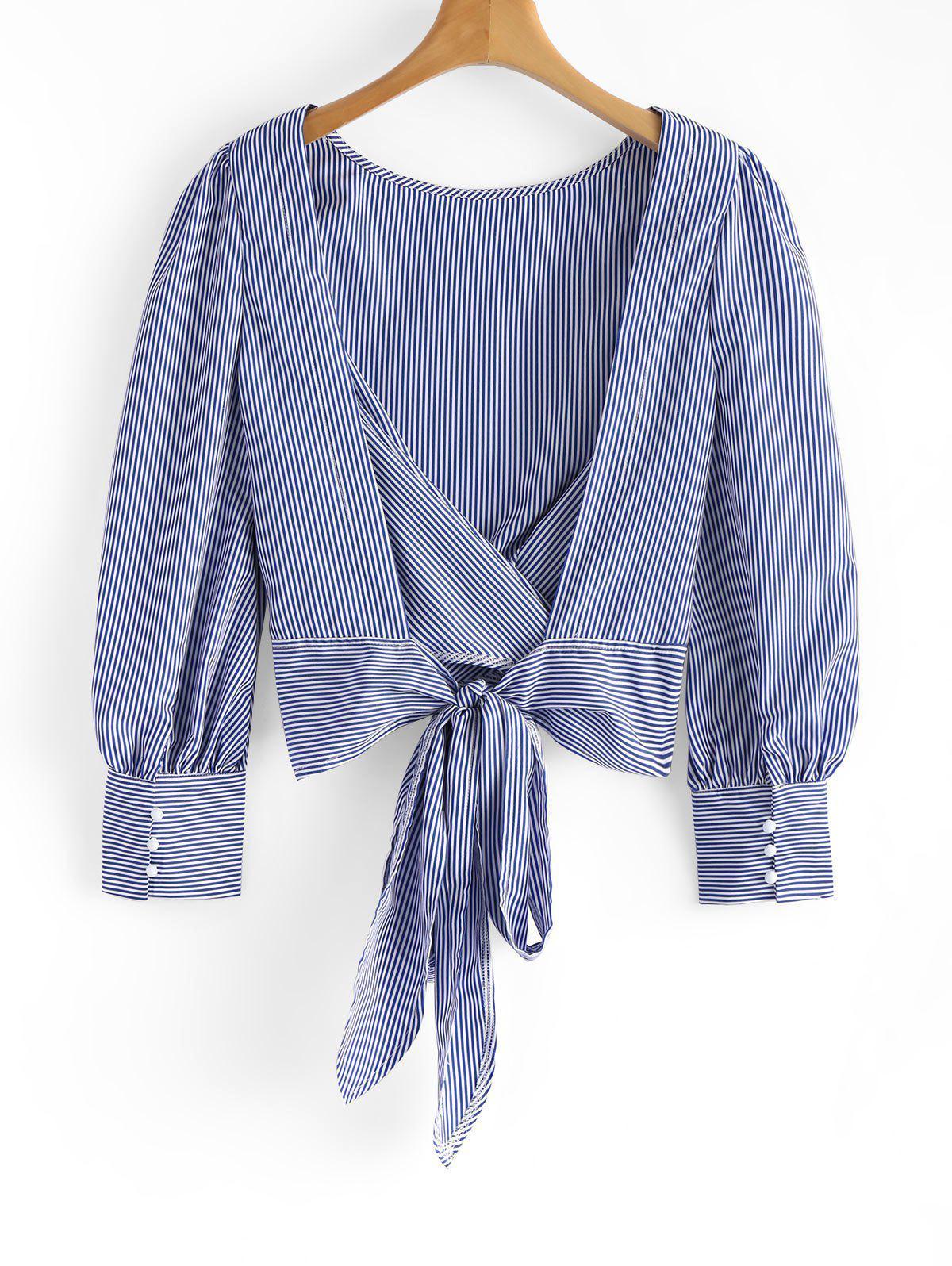 Gebundene bowknot rckenfreie gestreifte Bluse