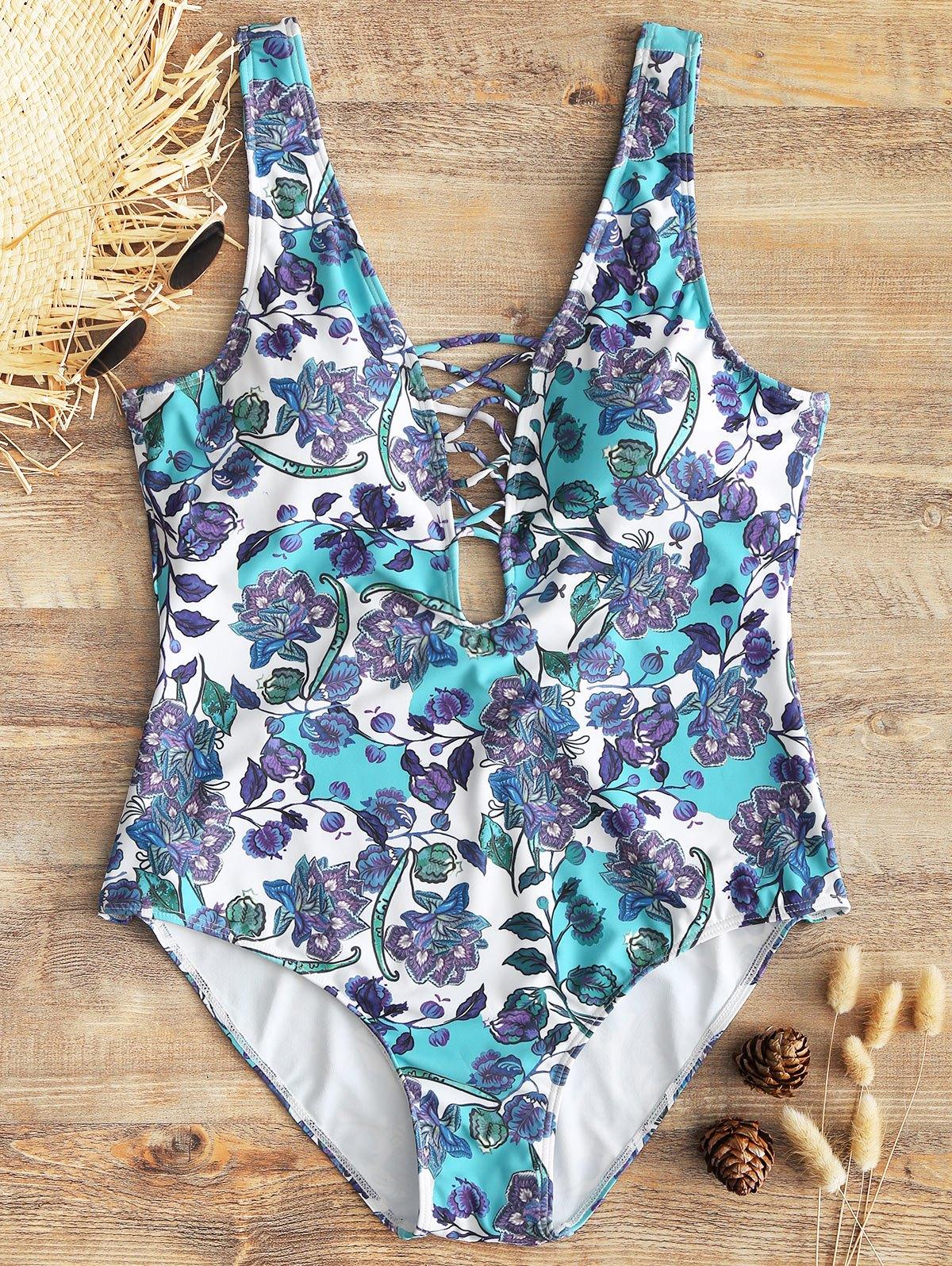 Floral Low Back Plus Size Lattice Front Swimwear 251203102