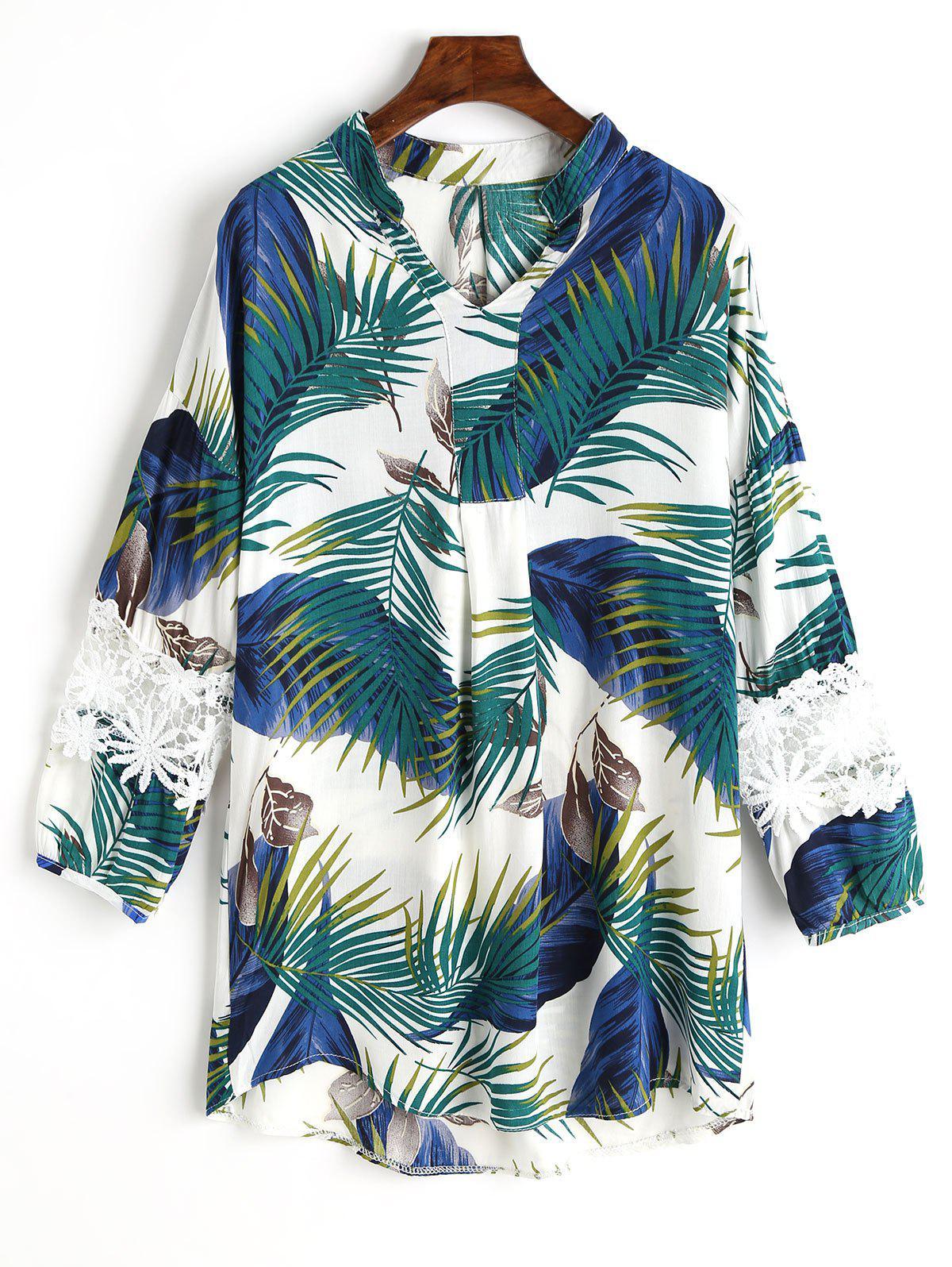 Palm Leaf Print Spitzenbluse