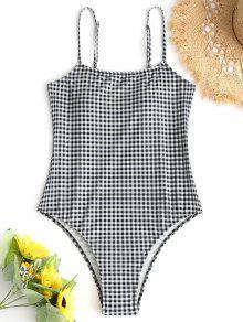 منقوشة السامي قص قطعة واحدة ملابس السباحة - أبيض وأسود S