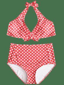 Rojo Estampado Con Lunares De 3xl De Alto Bikini Talle vwIx0ft
