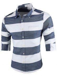 كم طويل عارضة قميص مقلم - الضوء الأزرق 5xl