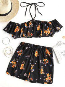 Conjunto De Pantalón Corto Y Shorts Con Hombros Descubiertos Y Florales - Negro L
