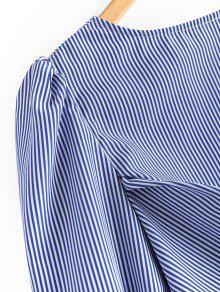 Espalda A Lazo De Rayas Bowknot Blusa Con La Azul M En BwSSYd