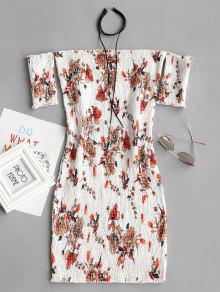 فستان ضيق بلا اكتاف طباعة الأزهار سموكيد - أبيض L