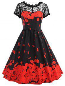زائد حجم الدانتيل روز البتلة طباعة اللباس خمر - أسود أحمر 4xl