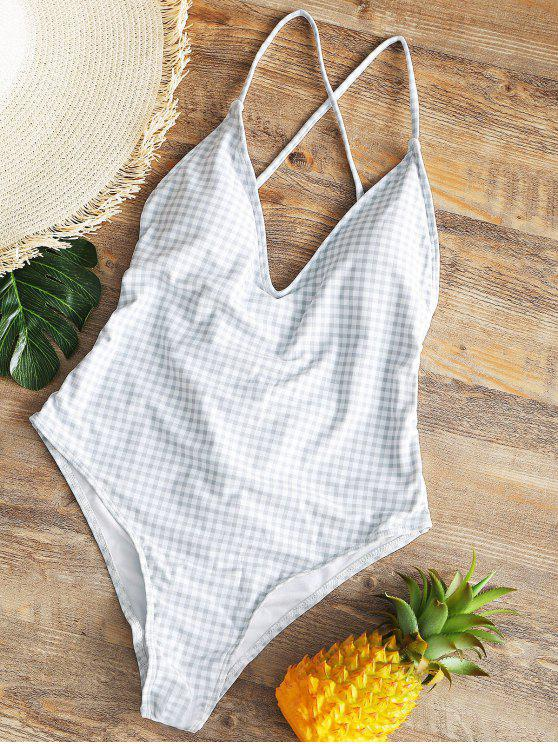 new Ruched High Cut Checked Swimwear - GREY AND WHITE L