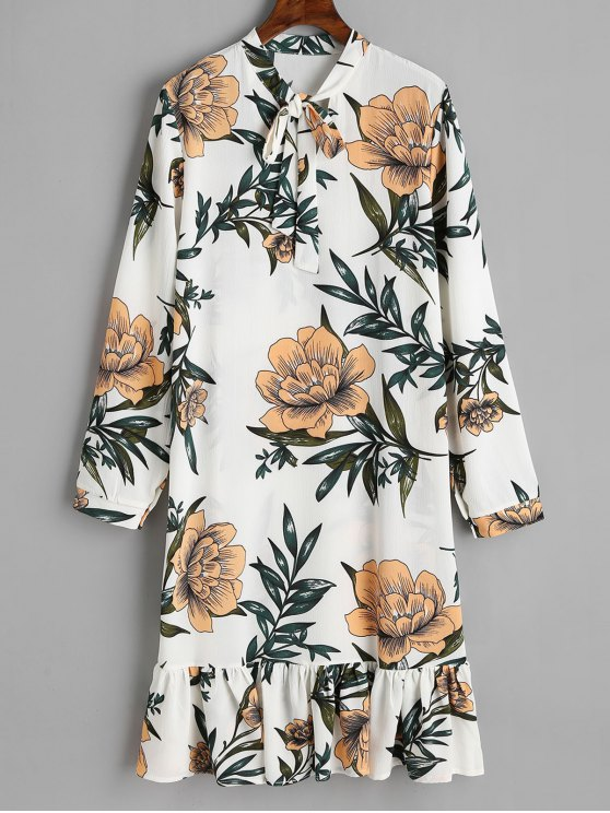 best Bow Tied Floral Ruffle Long Sleeve Dress - WHITE S