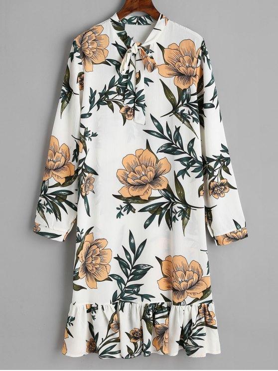 Vestido de manga larga con volantes florales atado con lazo - Blanco S