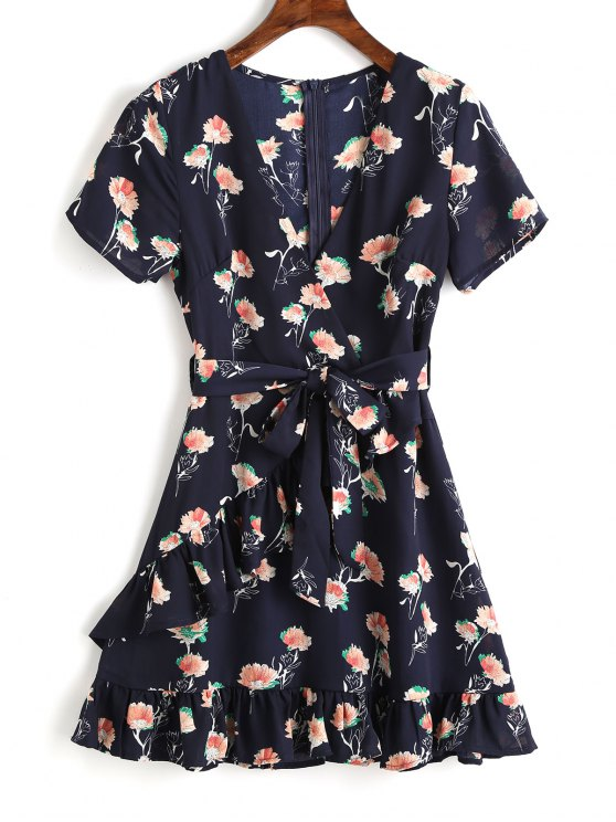 Belted Floral Ruffle Mini Dress - Azul Arroxeado M