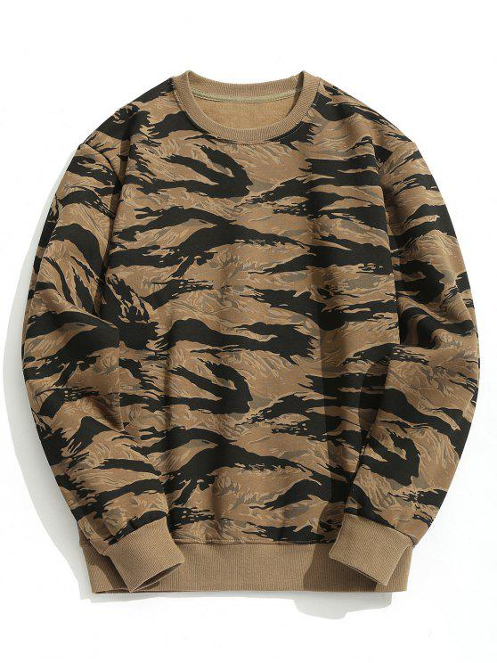 ladies Crew Neck Fleeced Camo Sweatshirt - CAMOUFLAGE XL