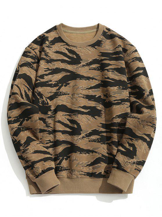 hot Crew Neck Fleeced Camo Sweatshirt - CAMOUFLAGE M