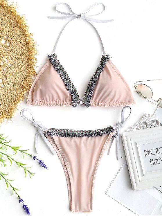 Conjunto Halter Tassels String String Bikini - Rosa L