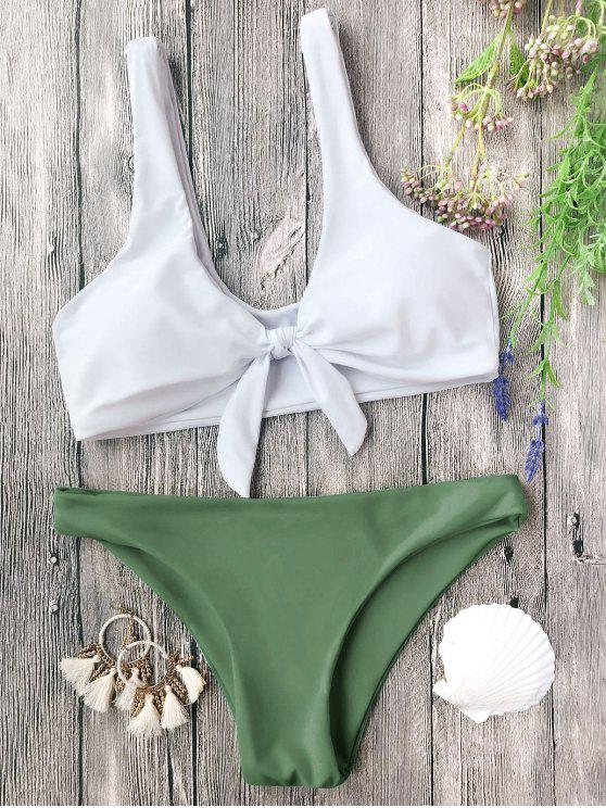 women Padded Knotted Bralette Bikini Set - WHITE AND GREEN M