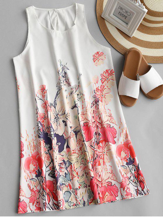 U Neck Floral Print vestido sem mangas - Floral M