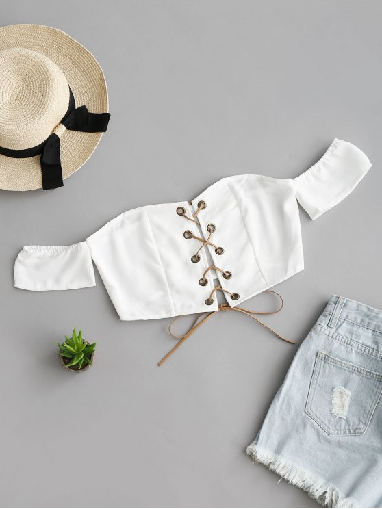 Lace Up Off Shoulder Cropped Top - Branco L