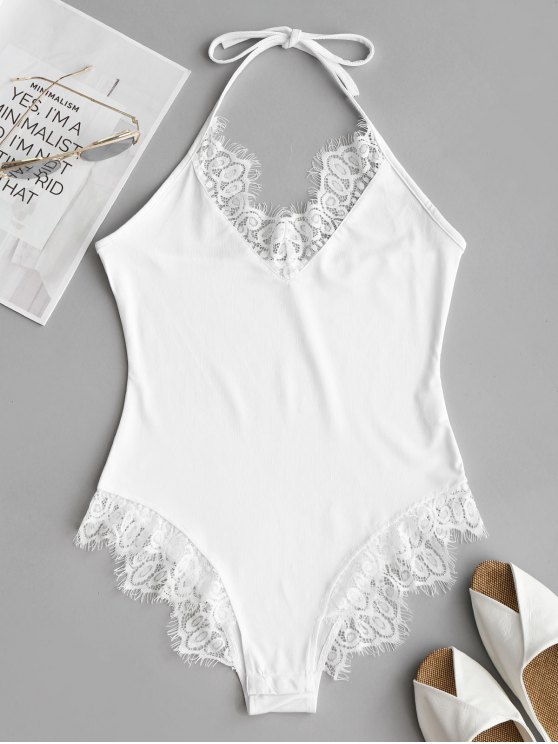affordable Halter Skinny Lace Panel Bodysuit - WHITE M