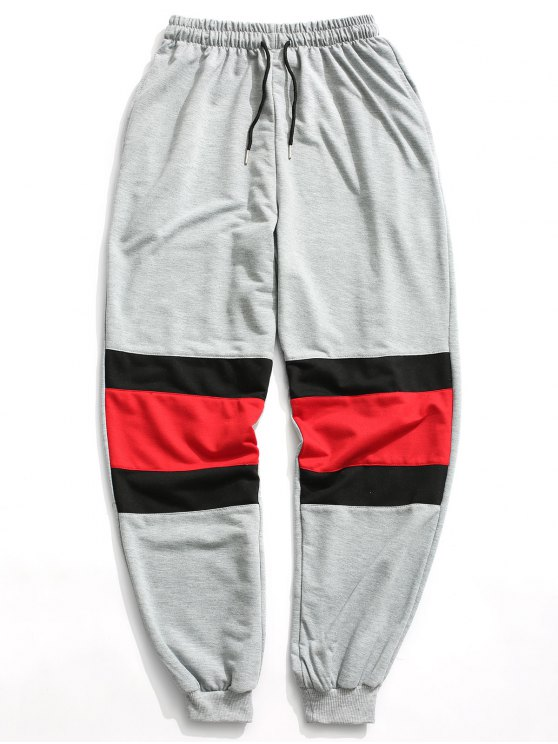 ladies Color Block Jogger Pants - GRAY L