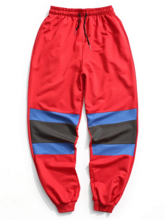 best Color Block Jogger Pants - RED XL