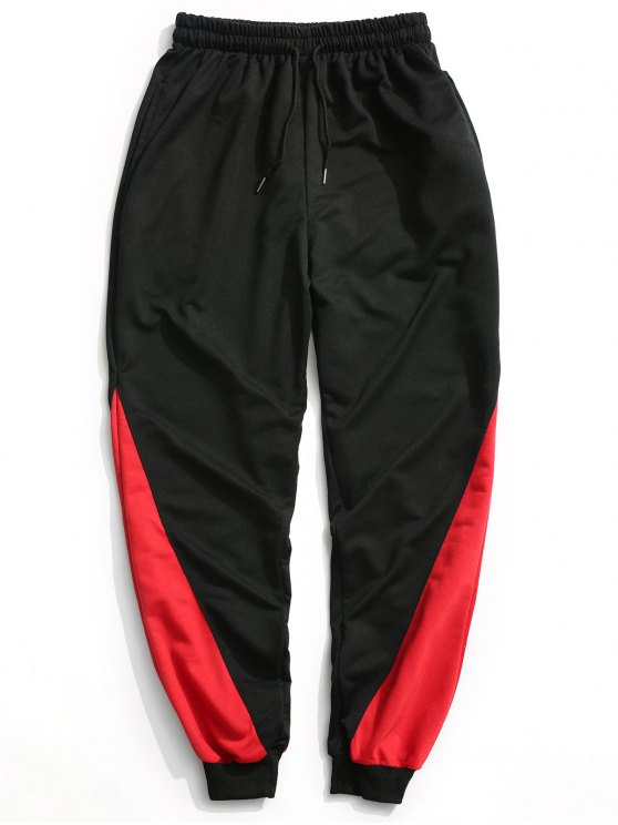 hot Two Tone Jogger Pants - BLACK XL