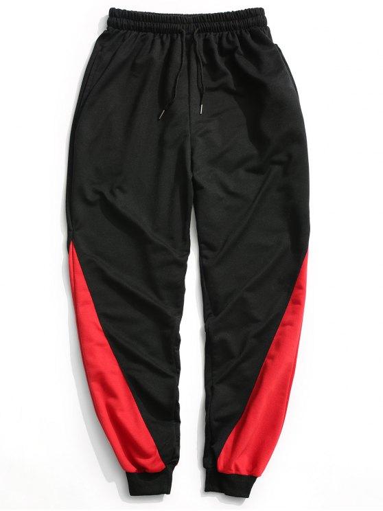 Zweifarbige Jogger Pants - Schwarz L