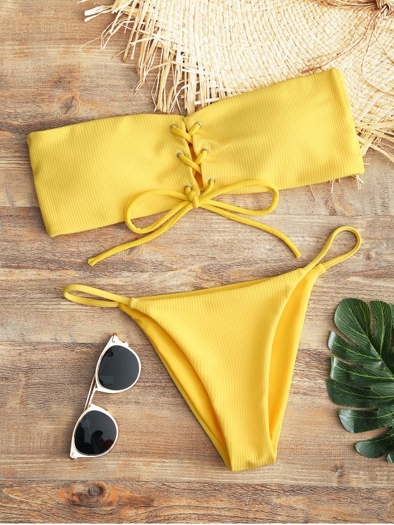 ladies Bandeau Lace Up Bikini Top and Thong Bottoms - YELLOW S