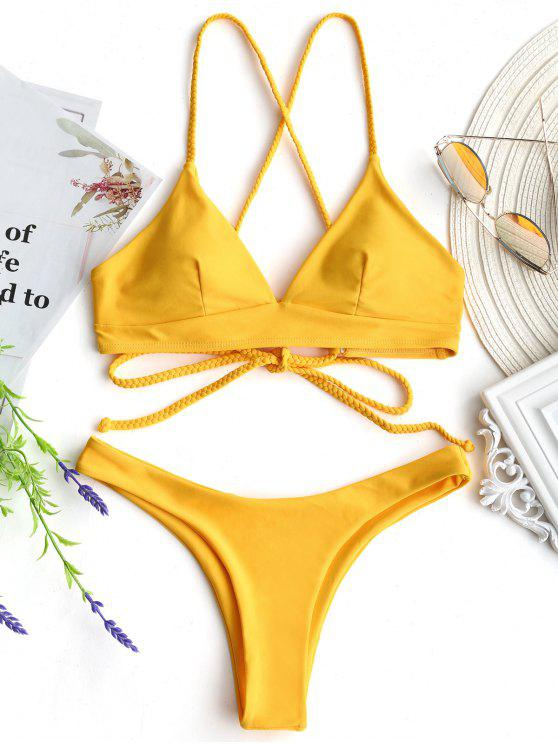Plaid Cami Cross Back Bikini Set - Mostaza L