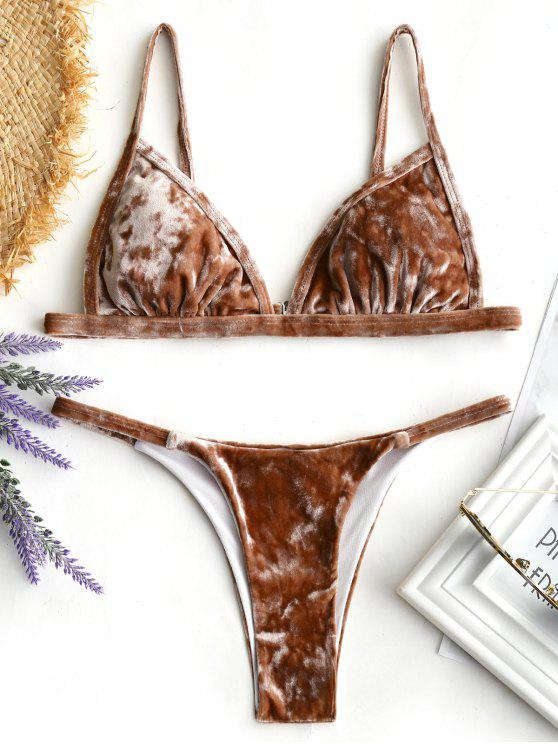 Conjunto de Bikini de Terciopelo con Tanga Acolchada - Café M