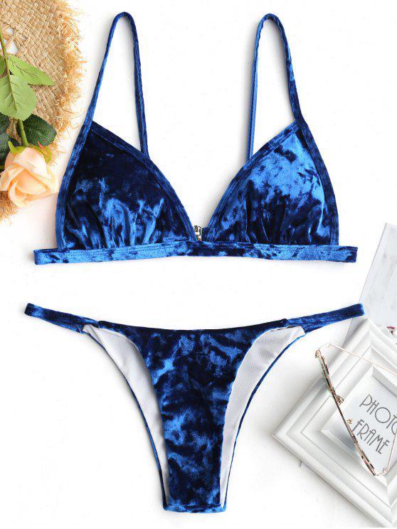 women's Padded Thong Velvet Bikini Set - BLUE M