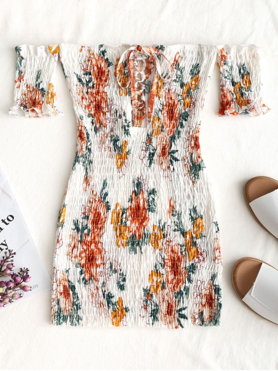 womens Floral Shirred Off Shoulder Mini Dress - WHITE ONE SIZE