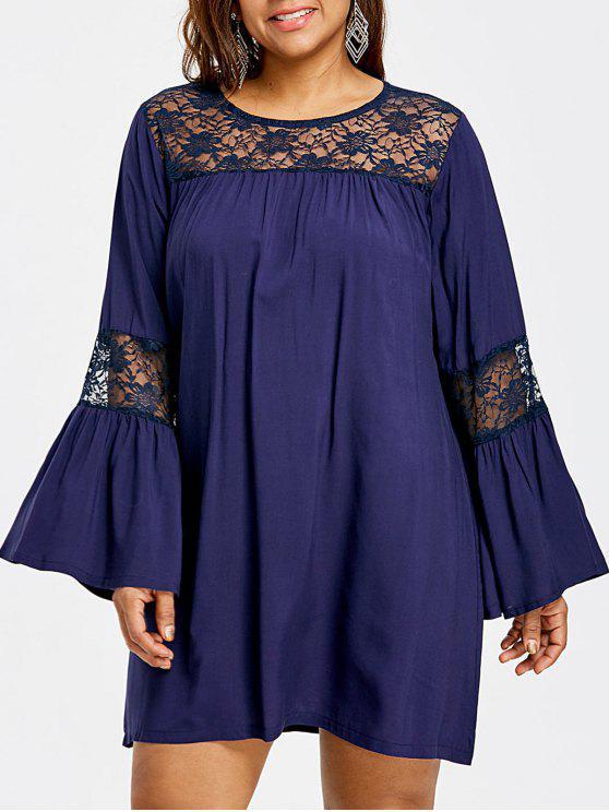 فستان توهج الأكمام الحجم الكبير - طالبا الأزرق XL