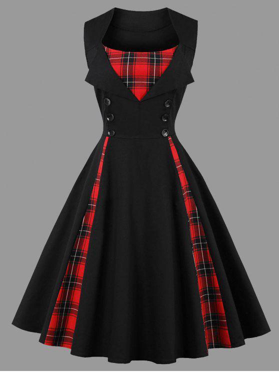 فستان الحجم الكبير منقوش بلا أكمام - أسود 5XL