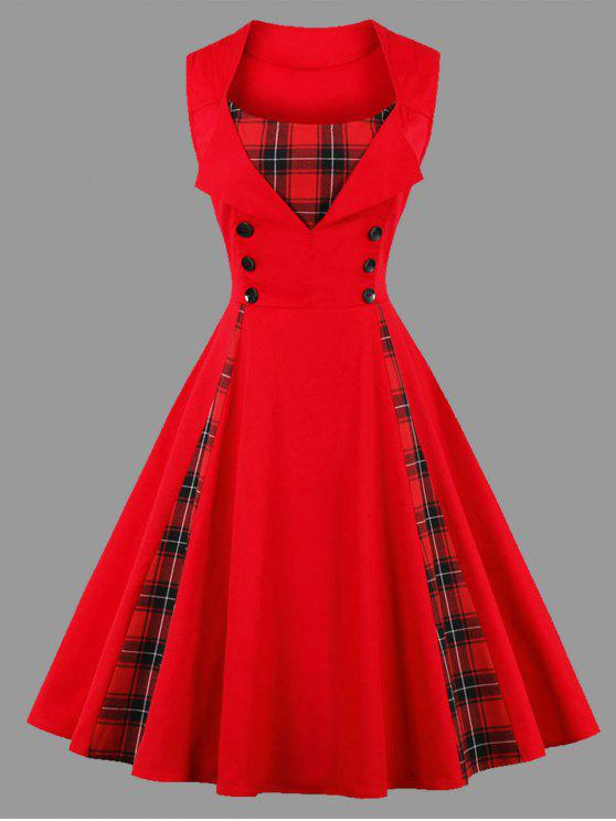 فستان الحجم الكبير منقوش بلا أكمام - أحمر 5XL