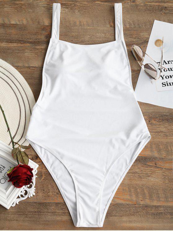Traje de baño de corte alto con espalda abierta y talla grande - Blanco XL