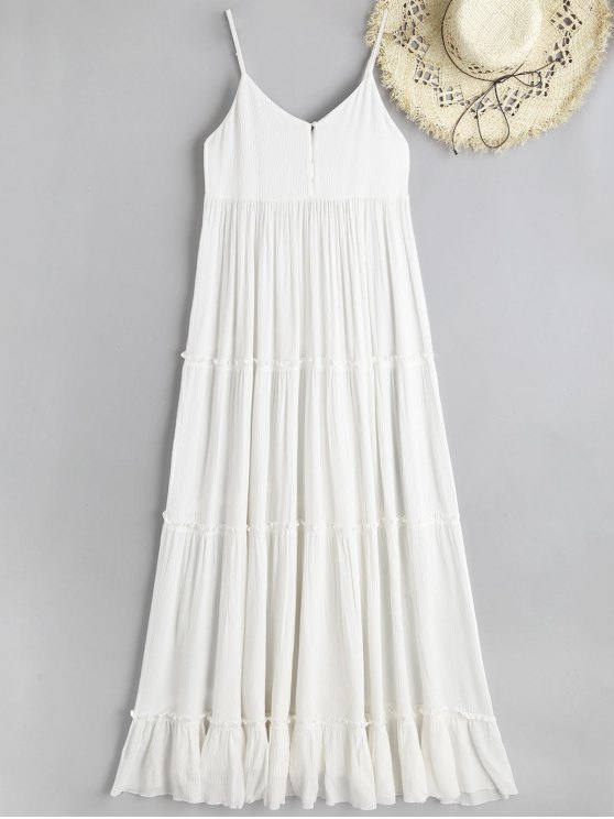 latest Cami Crinkly Texture Frilled Maxi Beach Dress - WHITE L