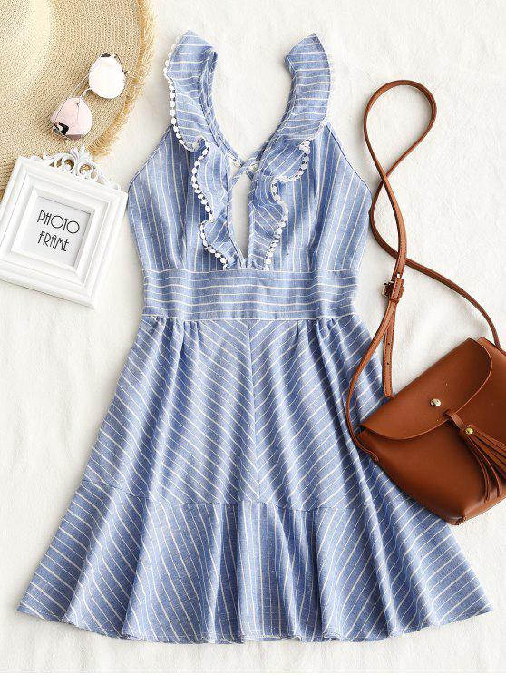 women's Striped Ruffle Criss Cross Back Mini Dress - LIGHT BLUE L