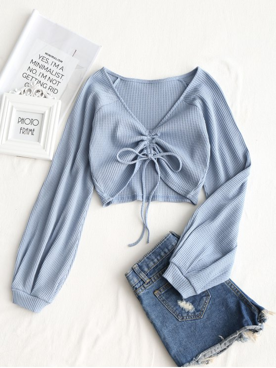 affordable Textured Knitted Gathered Top - GREY BLUE S