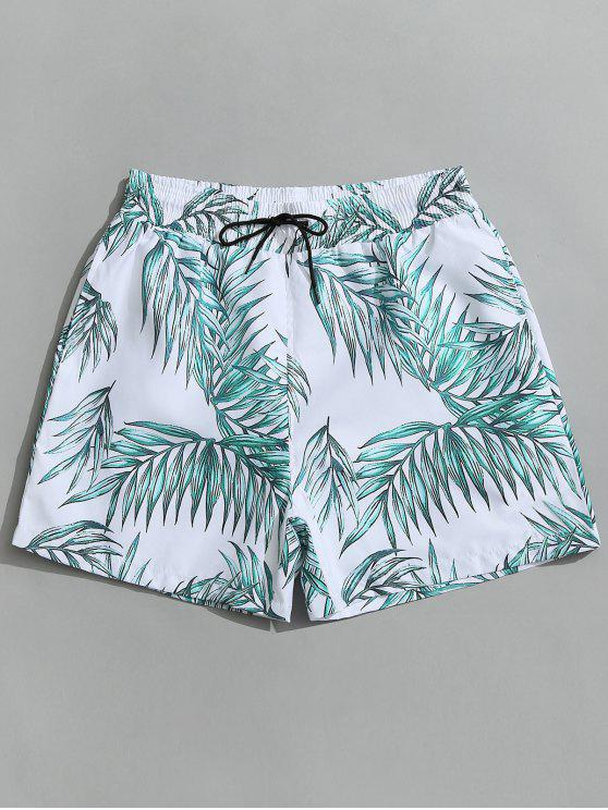 women Drawstring Leaf Print Beach Board Shorts - WHITE L