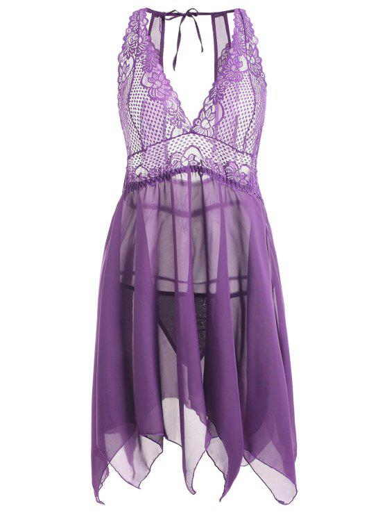 18% OFF] 2019 See-through Plus Size Handkerchief Babydoll Dress In ...