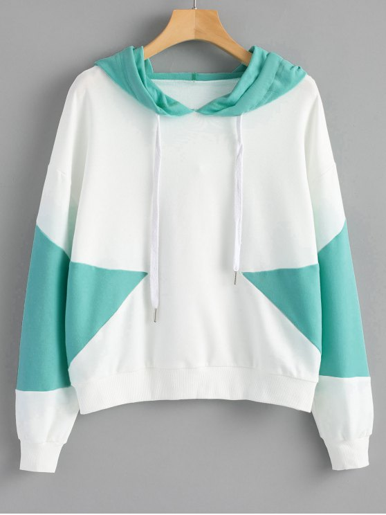 outfit Drawstring Two Tone Hoodie - WHITE S